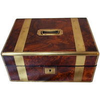 WB-1403z: Mid 19th Century English Brass & Walnut Box