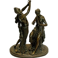 WBR-228z: 19th Century French Bronze of a Dancer & Musician Signed