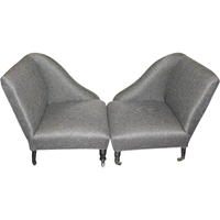 WC-1086: Pair of Napoleon III Lounge Chairs