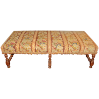 WC-1274z: c. 1880 English Upholstered Walnut Bench