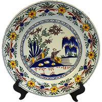 WCI-7580: Late 18th Century Delft Charger of Man in Water