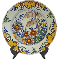 WCI-7581: Late 18th Century Delft Charger of Garden Scene