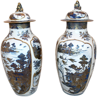 WCI-7692z: 18th Century Chinese Qing Dynasty Covered Jars - a Pair