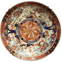 WCI-7695z: 19th Century Chinese Imari Charger with Cast Iron Wall Hanger
