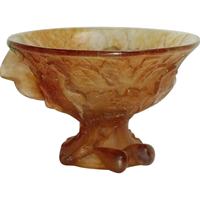 WG-2525z: Mid 20th Century Daum Pate de Verre Art Glass Compote of Figs and Leaves