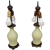 WL-1400z: c. 1860 Chinese Qing Celedon Lamps - A Pair