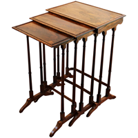 WOT-2374z: c. 1860s Colonial Rosewood Nesting Tables - Set of 3