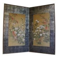 WP-2113z: Floral Painted 2-panel Screen