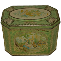 WB-1288z: 1930's Watteau Romantic Tea Caddy from Huntley & Palmers