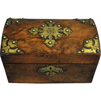 WB-1358z: Burl Walnut Dome Tea Caddy