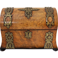 WB-1398z: Mid 19th Century English Burl Walnut Tea Caddy