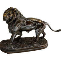 WBR-224z: 19th Century Bonze Striding Lion by P. Lecourtier (SOLD)