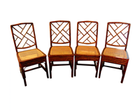 WC-1138z: Early 19th Century Chinese Chippendale Bamboo Side Chairs - Set of 4