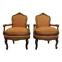WC-1231z: Pair of Louis XVI Style French Fauteuils (Arm Chairs)