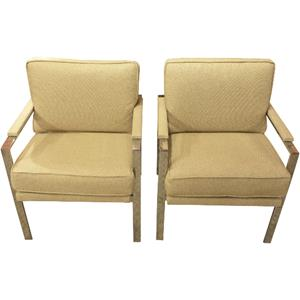 WC-1233z: Pair of Mid-Century Modern Chrome Arm Chairs