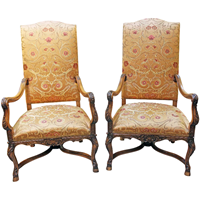WC-1265z: Mid to Late 19th Century French Beech Wood Fauteuils - A Pair