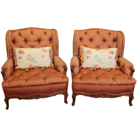 WC-1270z: c. 1900 French Louis XV Bergere Chairs - A Pair