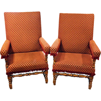 WC-996: French Louis XIV Walnut Arm Chairs - A Pair