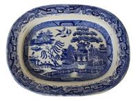 WCI-7925z: Mid-19th Century English Blue Willow Porcelain Platter