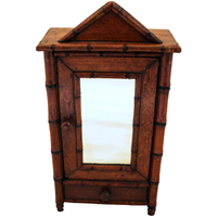 WCO-2716z: Late 19th Century Miniature Faux Bamboo Armoire