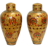 WCO-3333z: Vintage Papier Mache Kashmiri Covered Jars, a Pair