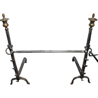 WFE-250z: Late 19th Century English Brass & Iron Andirons - a Pair