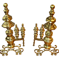 WFE-251z: Early 19th Century American Empire Brass Andirons