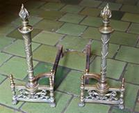 WFE-258z: Late 19th Century Brass Andirons