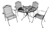 WGD-451: Vintage Wrought Iron Table & 4 High Back Arm Chairs