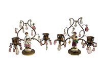WL-1341z: Gilt Bronze Candelabras with Porcelain Figurines