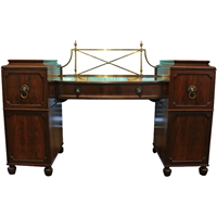 WOF-2418: Double Pedestal Sideboard with Lion Mask Handles