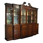 WOF-2422z:George III Double Breakfront Bookcase with Secretaire