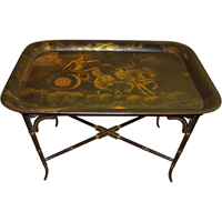 WOT-2169: 19th Century Tole Tray With Stand