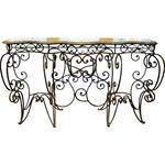 Wot-2171: French Iron & Marble Console Table
