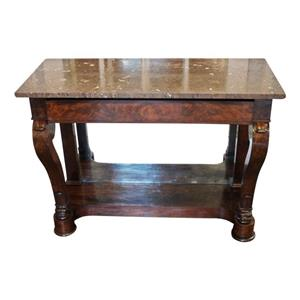 WOT-2293: French Louis Philippe Marble Top Console