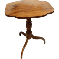 WOT-2382z: Early 19th Century American Flame Birch & Mahogany Tilt-Top Table