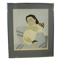 "WP-2114z: ""Woman & White Cat"" Print by Will Barnet"